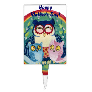 Mother owl happy Mother's day Cake Topper