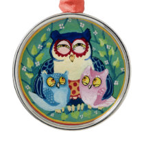 Mother owl metal ornament
