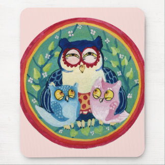 Mother owl mouse pad