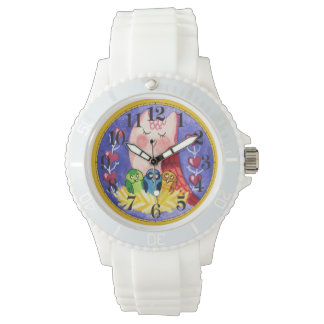 Mother owl triplets wrist watches