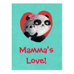 Mother Panda with Baby Postcard