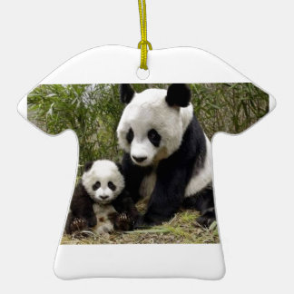 Mother Panda With Her Cub Double-Sided T-Shirt Ceramic Christmas Ornament