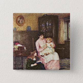 Mother playing with children in an interior button