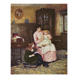 Mother playing with children in an interior poster