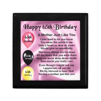 Mother Poem  -  65th Birthday Jewelry Box