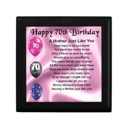 Mother Poem 70th Birthday Jewelry Box Zazzle