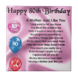 """Mother Poem  -  80th Birthday Tile<br><div class=""""desc"""">A great gift for a mother on her 80th birthday</div>"""