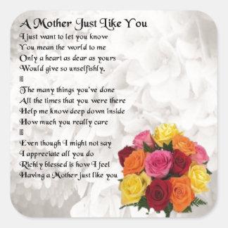 Mother Poem - Flowers Square Sticker