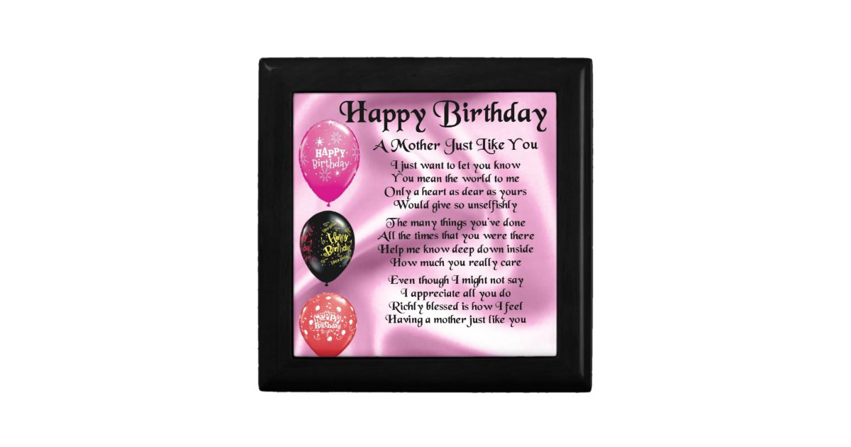 Mother Poem Happy Birthday Keepsake Box Zazzlecom