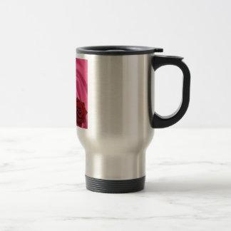 Mother Poem  -  Pink Silk & Rose Design Travel Mug