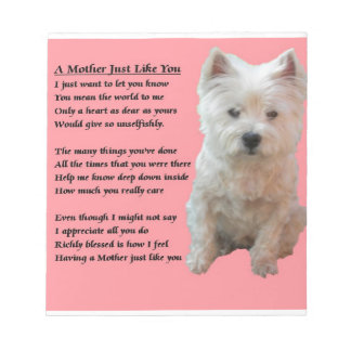Mother Poem - Westie Notepad