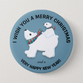 Mother Polar Bear and Cub on Blue Merry Christmas Pinback Button