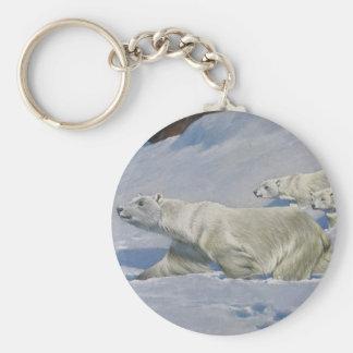 Mother Polar Bear and Cubs Keychain