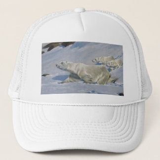 Mother Polar Bear and Cubs Trucker Hat
