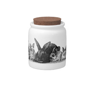 Mother rabbit and babies candy jar
