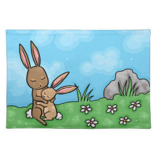 Mother Rabbit and Baby Bunny hug Cloth Placemat