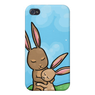 Mother Rabbit and Baby Bunny hug Cover For iPhone 4