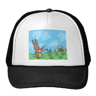 Mother Rabbit and Baby Bunny hug Trucker Hat
