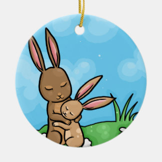 Mother Rabbit and Baby Bunny hug Double-Sided Ceramic Round Christmas Ornament