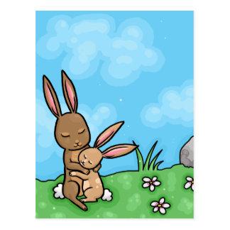 Mother Rabbit and Baby Bunny hug Postcard