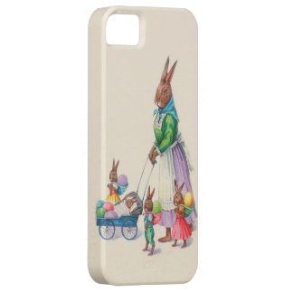 Mother Rabbit with Four Baby Bunnies - Vintage iPhone 5 Case