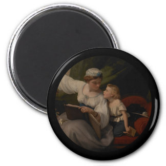 Mother Reading a Fairytale 2 Inch Round Magnet