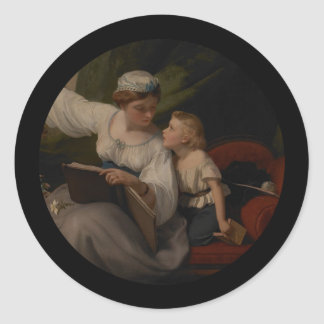 Mother Reading a Fairytale Classic Round Sticker