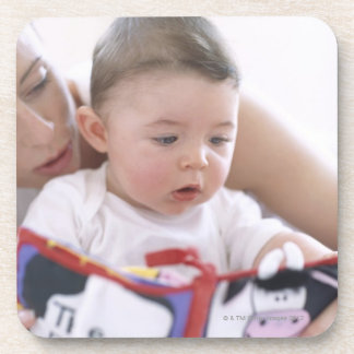 Mother reading to baby boy. Faces of a mother Beverage Coaster