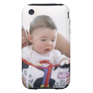 Mother reading to baby boy. Faces of a mother iPhone 3 Tough Cases