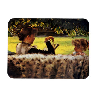 Mother Reading to Her Little Girl Rectangle Magnets