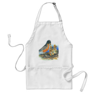 Mother Robin and Chicks - Watercolor Pencil Drawin Adult Apron