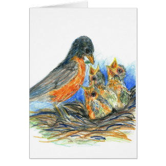 Mother Robin and Chicks - Watercolor Pencil Drawin Greeting Card