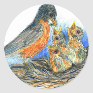 Mother Robin and Chicks - Watercolor Pencil Drawin Classic Round Sticker