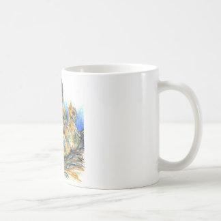 Mother Robin and Chicks - Watercolor Pencil Drawin Coffee Mug