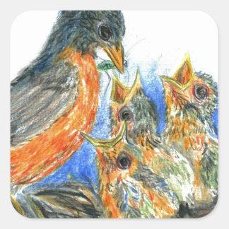 Mother Robin and Chicks - Watercolor Pencil Drawin Square Sticker