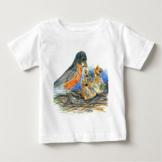 Mother Robin and Chicks - Watercolor Pencil Drawin T-shirt