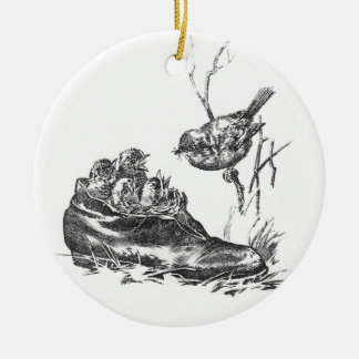 Mother Robin and Her Babies in a Shoe Ceramic Ornament