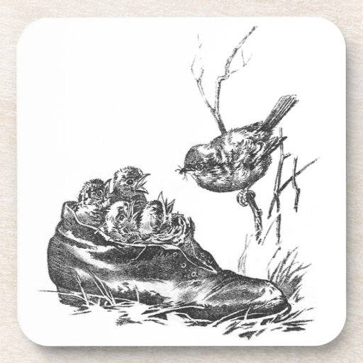 Mother Robin and Her Babies in a Shoe Coaster