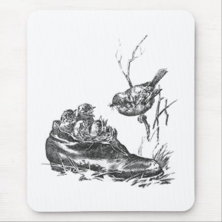 Mother Robin and Her Babies in a Shoe Mouse Pad