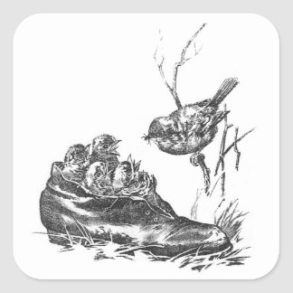 Mother Robin and Her Babies in a Shoe Square Sticker
