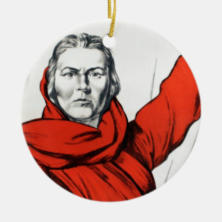 Mother Russia Communism Propaganda Ceramic Ornament