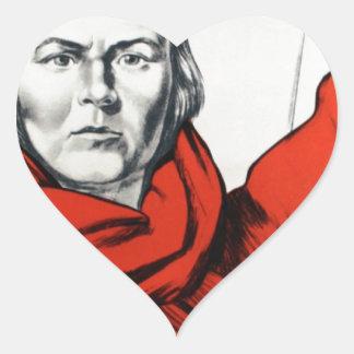 Mother Russia Communism Propaganda Heart Sticker