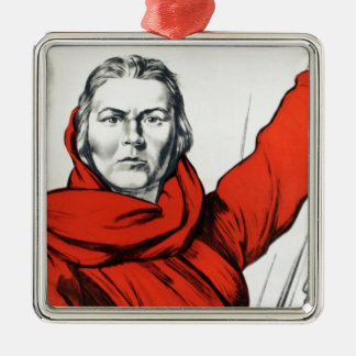 Mother Russia Communism Propaganda Metal Ornament