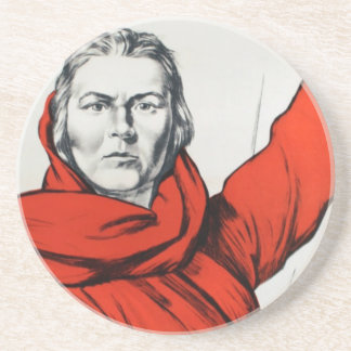 Mother Russia Communism Propaganda Sandstone Coaster