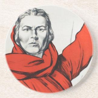 Mother Russia Communism Propaganda Sandstone Coaster