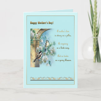 "Mother""s day, antique pillar, roses and chickadees card"