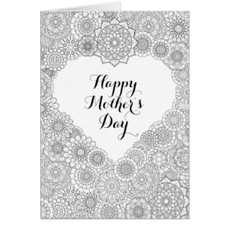 Mother's Day Card: Adult Coloring Card