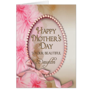 Mother s Day - Daughter - Delicate and Pink Floral Card