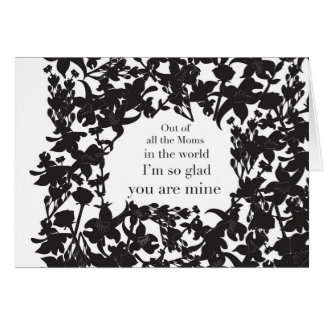 Mother´s day Lovely Black Floral Card with message