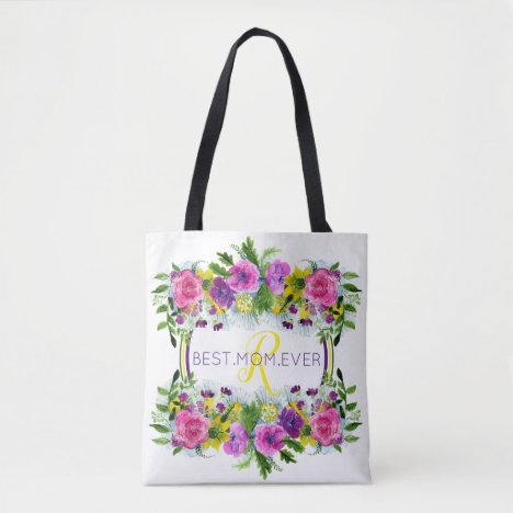 Mother's Day Mothering Sunday Watercolor Monogram Tote Bag